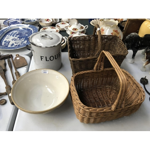 293 - TWO WICKER PICNIC BASKETS, A VINTAGE MASON & CASG MIXING BOWL AND ENAMELLED FLOUR BIN (4)...