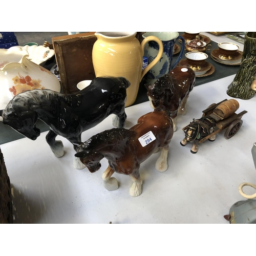 294 - A MIXED GROUP OF CERAMIC MODELS OF THREE SHIRE HORSES AND A SHIRE HORSE PULLING A CART (4)...