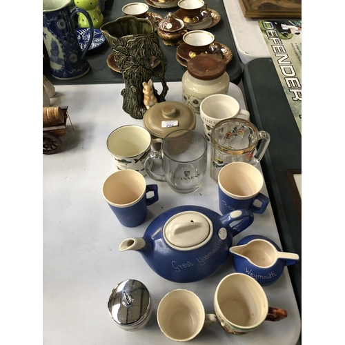 296 - A MIXED GROUP OF VARIOUS CERAMICS AND GLASS TO INCLUDE A ROBIN HOOD MUG, BLUE AND WHITE TEA SET, SYL...