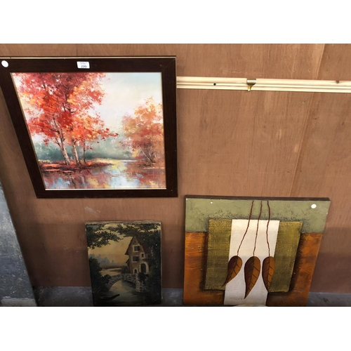299 - A GROUP OF THREE PICTURES AND MIRRORS TO INCLUDE AN ABSTRACT LEAF PICTURE, RIVER SCENE AND FURTHER F...
