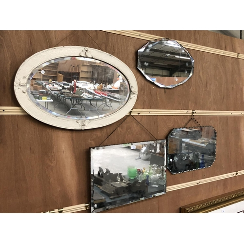 300 - A GROUP OF FOUR VARIOUS MIRRORS TO INCLUDE ART DECO BEVELED EDGE EXAMPLE, WHITE PAINTED DECORATIVE O...