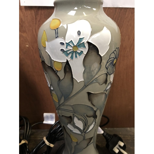 328 - A MOORCROFT POTTERY LAMP BASE DECORATED IN THE 'MONTANA' PATTERN DESIGNED BY EMMA BOSSONS, SHAPE NUM...