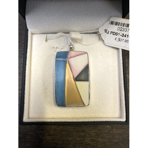 331 - A MOORCROFT ABSTRACT .925 STERLING SILVER PENDANT WITH POTTERY COLOURFUL INSERT, RRP £337.95 (BOXED)...