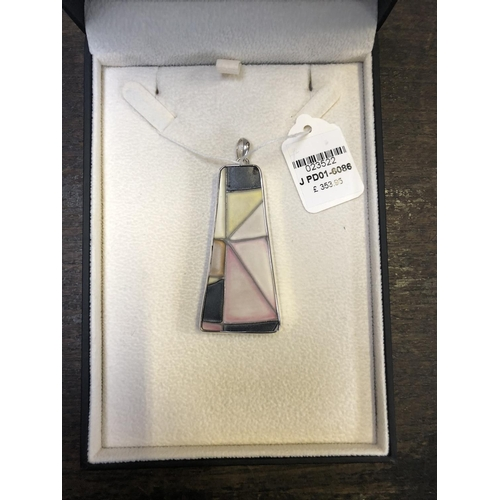 332 - A MOORCROFT ABSTRACT .925 STERLING SILVER PENDANT WITH POTTERY COLOURFUL INSERT, RRP £353.95 (BOXED)...