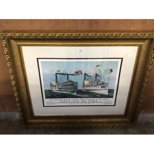 395 - A LARGE DECORATIVE GILT FRAMED PRINT OF A STEAMER, 'PASSING ON THE HUDSON' 107CM X 94CM...