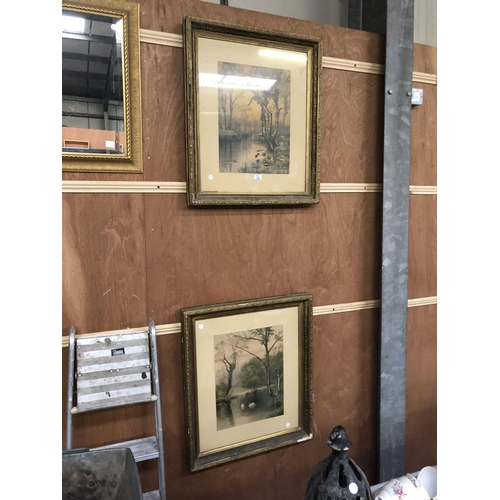 398 - A PAIR OF GILT FRAMED PRINTS OF LAKE SCENES 74CM X 62CM...