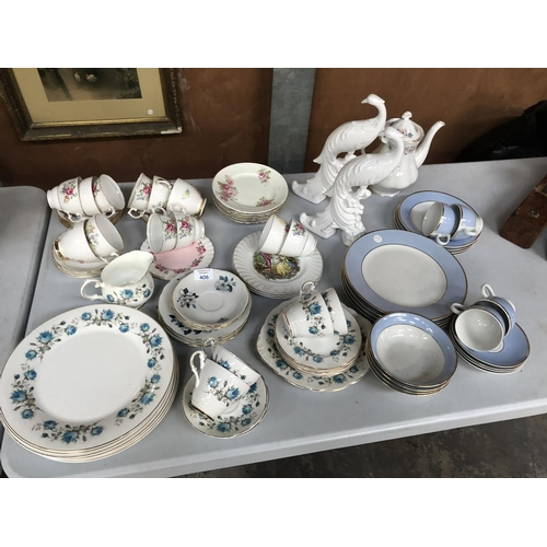406 - A MIXED GROUP OF VARIOUS CERAMICS AND GLASS TO INCLUDE BONE CHINA PART TEA SETS, DOULTON TEA SETS, T...