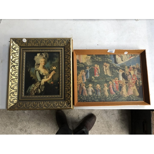 409 - A GILT FRAMED PICTURE OF A LADY TOGETHER WITH FURTHER PINE FRAMED RELIGIOUS PRINT (2)...