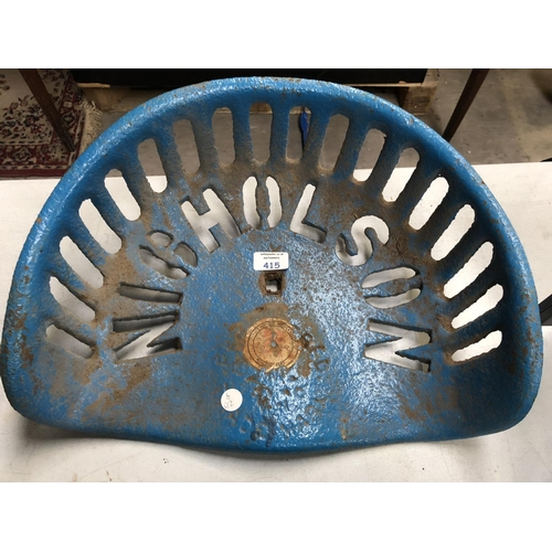 415 - A BLUE PAINTED 'NICHOLSON' CAST METAL VINTAGE TRACTOR SEAT...