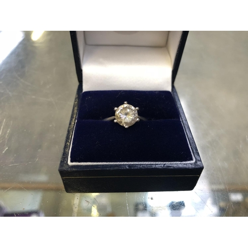 511 - A LADIES BOXED .925 SILVER STAMPED RING WITH SOLITAIRE CUT STONE...