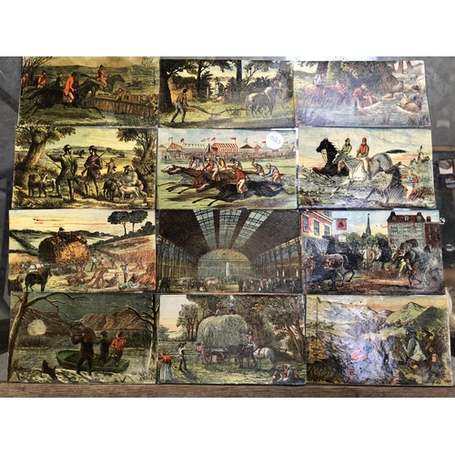 529 - A GROUP OF 12 VINTAGE POST CARD PICTURES TO INCLUDE FAIRGROUND, LANDSCAPE AND HUNTING SCENES (12)...