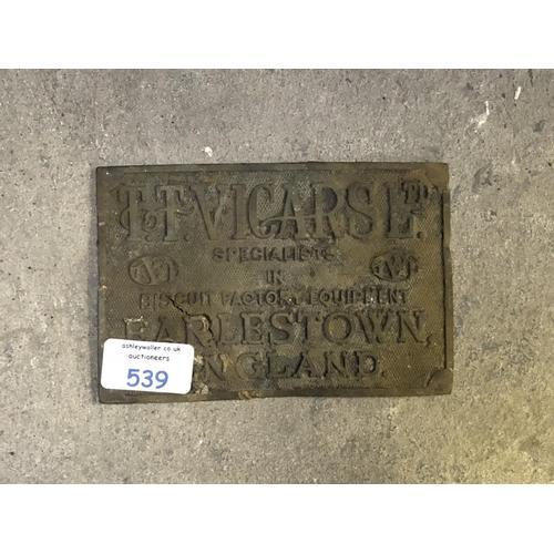 539 - A VINTAGE CAST METAL 'T.T VICARS LTD' WORLD WAR II 'EARLESTOWN' PLAQUE...