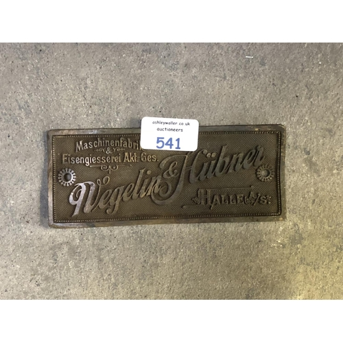 541 - A VINTAGE GERMAN CAST METAL 'WEGELIN AND HUBNER' CAST METAL SIGN...