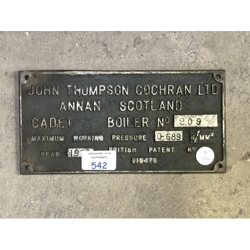 542 - A VINTAGE CAST METAL 'JOHN THOMSON COCHRAN LTD BOILER COMPANY' CAST METAL SIGN...