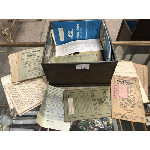 548 - A VINTAGE TIN BOX CONTAINING VARIOUS OLD BUILDING SOCIETY BOOKLETS, FURTHER INSURANCE BOOKLETS, ETC ...