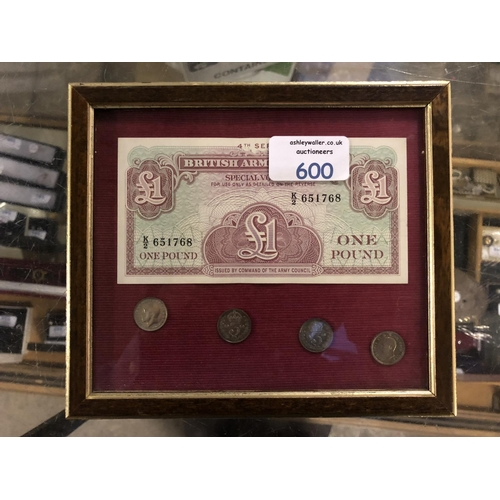 550 - A FRAMED BRITISH ARMED FORCES 4TH SERIES, 1 POUND NOTE TOGETHER WITH 4 X 3P...