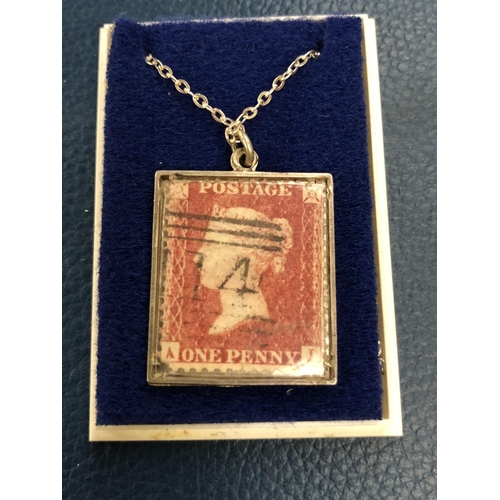"571 - QUEEN VICTORIA "" PENNY RED "" MOUNTED ON SILVER PLATE PLUS CHAIN..."