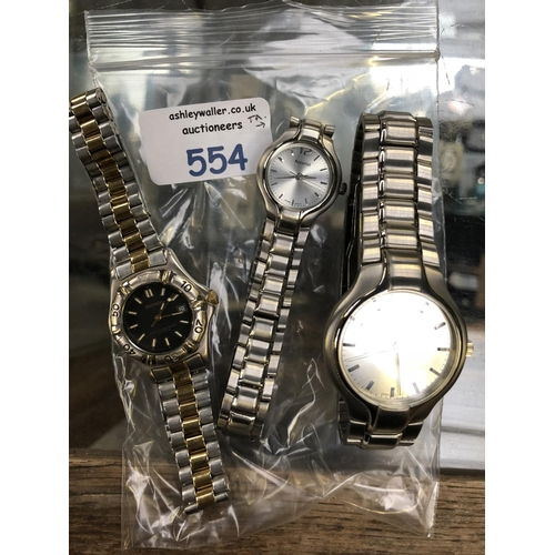 576 - ONE GENTS ACCURIST AND ONE LADIES ACCURIST WATCH PLUS LADIES SEKONDA (3)...