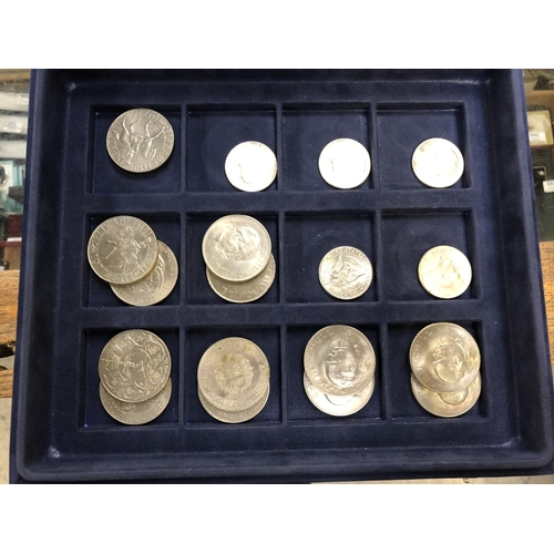 "583 - A GROUP OF 6  USA "" KENNEDY "" SILVER HALF DOLLAR COINS PLUS 13 UK QE11 COMMEMORATIVE CROWNS..."