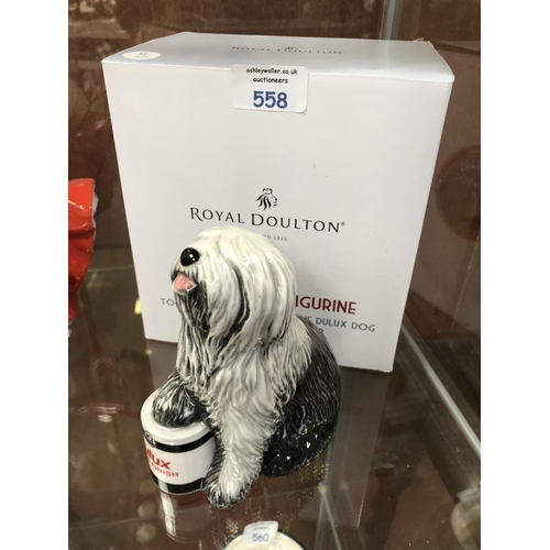 558 - A ROYAL DOULTON FIGURE, DULUX DOG, CELEBRATING 50 YEARS OF THE DULUX DOG (BOXED)...
