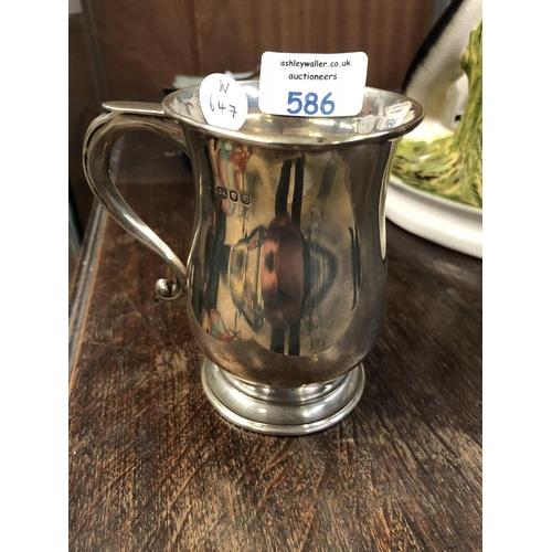 586 - A LONDON HALLMARKED SILVER QUARTER PINT TANKARD, MAKER S.J.R....