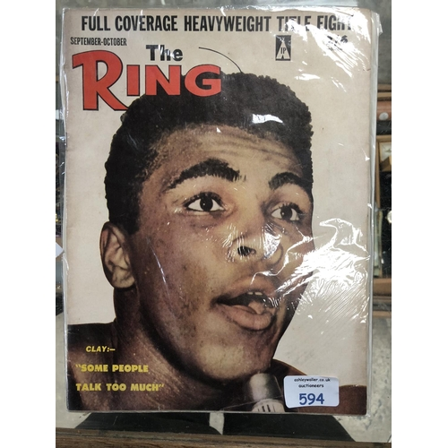 594 - A VINTAGE 1960'S 'THE RING' BOXING MAGAZINE, CASSIUS CLAY