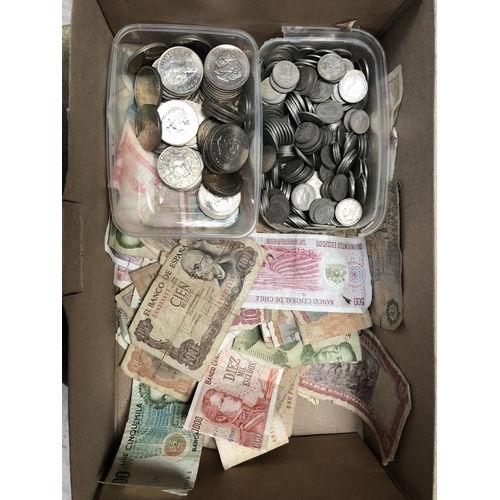 595 - ONE BOX CONTAINING A LARGE QUANTITY OF VARIOUS COINS AND BANK NOTES TO INCLUDE VARIOUS CORONATION CR...