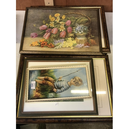 343 - A MIXED GROUP OF PICTURES AND PRINTS TO INCLUDE A STILL LIFE AND A BOY FISHING ETC (QTY)...