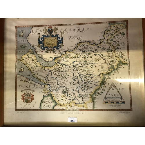 344 - A FRAMED 'SAXTONS MAP OF CHESHIRE, 1577, COLOUR PRINT 53CM X 64CM...