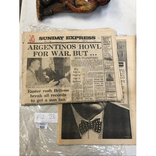 426 - TWO VINTAGE NEWSPAPERS TO INCLUDE A 1960'S 'CHURCHILL THE GREAT' COPY (2)...