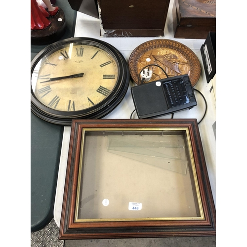 448 - A WOODEN AND GLASS TABLE TOP 'DEALERS' DISPLAY CABINET, CLOCK, RADIO ETC (4)...