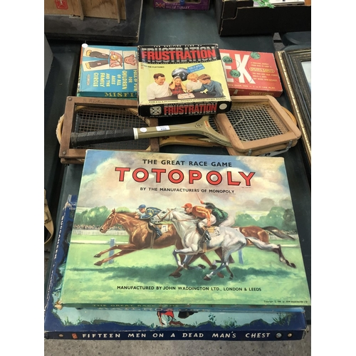498 - A MIXED GROUP OF VINTAGE BOARD GAMES (ALL APPEAR COMPLETE) TO INCLUDE 'TOTOPOLY', 'BUCKANEERS', 'FRU...
