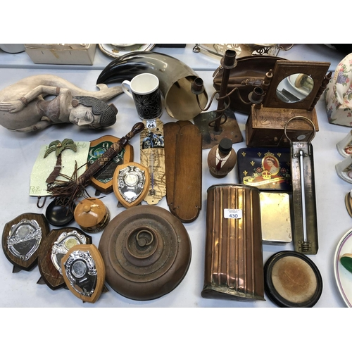 430 - A MIXED GROUP OF ASSORTED ITEMS TO INCLUDE COPPER WATER HOLDER, MINIATURE DRESSING TABLE, TROPHY PLA...