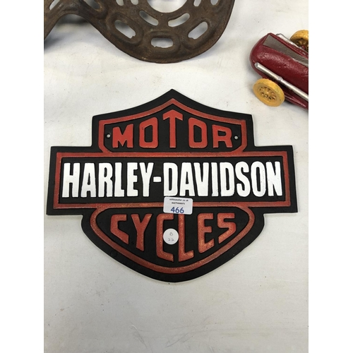 466 - A CAST IRON 'HARLEY DAVIDSON' MOTOR CYCLES SIGN...