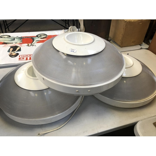 478 - THREE CIRCULAR RETRO STYLE CEILING / WALL LIGHTS 64CM DIAMETER...