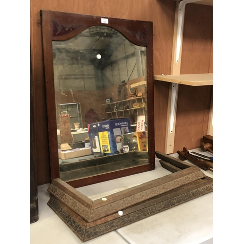 485 - A MAHOGANY DRESSING TABLE MIRROR 84CM X 63CM TOGETHER WITH THREE OAK FIRE SURROUNDS...