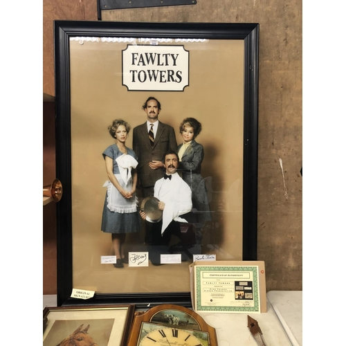 598 - A LARGE FRAMED 'FAULTY TOWERS' PICTURE SIGNED BY JOHN CLEESE, CONNIE BOOTH, ANDREW SACHS AND PRUNELL...