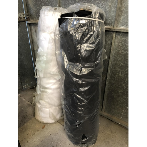 335 - TWO LARGE ROLLS OF UPHOLSTERY FABRIC IN BLACK AND WHITE COLOURS (2)...