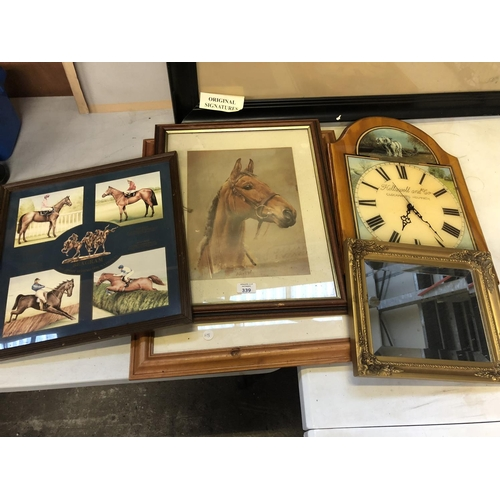 339 - A MIXED GROUP OF PICTURES AND PRINTS TO INCLUDE A FRAMED PICTURE OF 'ARKLE' RACE HORSE, WALL CLOCK A...