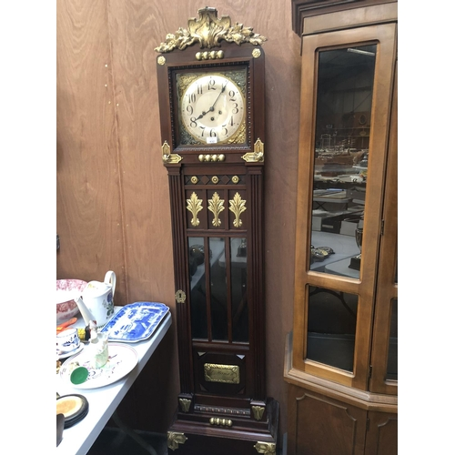 432 - A LARGE DECORATIVE MAHOGANY CASED GRANDFATHER CLOCK, WITH BRASS DIAL AND ARABIC NUMERALS, SIGNED TO ...