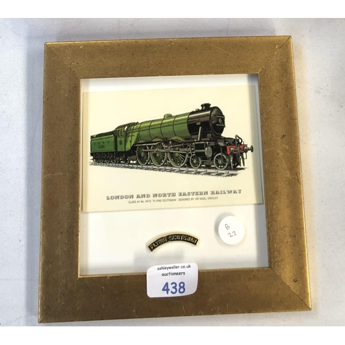 438 - A SMALL FRAMED LONDON AND NORTH WESTERN RAILWAY PICTURE OF 'THE FLYING SCOTSMAN'...