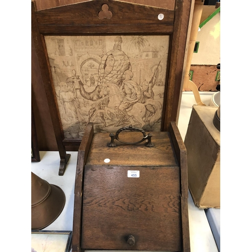 455 - AN OAK COAL BOX, (WITH INNER LINING) TOGETHER WITH A OAK FRAMED TAPESTRY (2)...