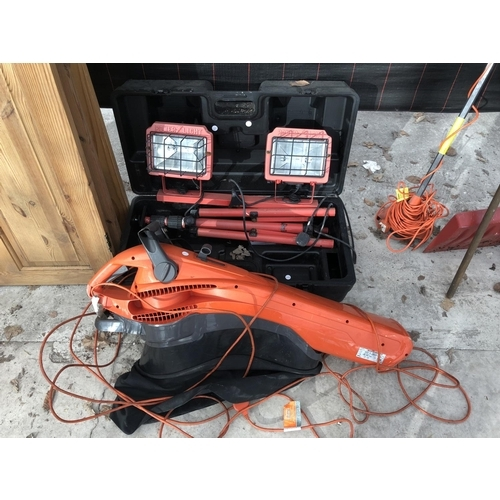 9 - A PAIR OF 'POWER LIGHT' WITH TRIPOD STAND AND CASE AND A FLYMO 2500W GARDEN VAC TURBO, ALL W/O...