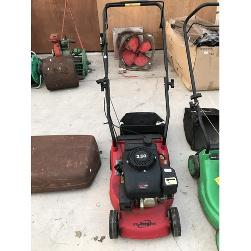 104 - A POWERDEVIL 3.50 PETROL ROTARY LAWNMOWER W/O...