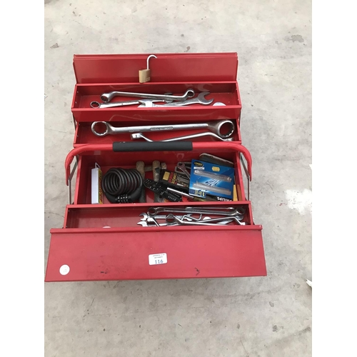 116 - A RED METAL CONCERTINA TOOL BOX CONTAINING VARIOUS SPANNERS AND TOOLS...