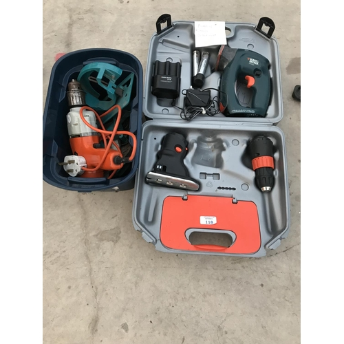 118 - TWO BLACK AND DECKER DRILLS, ONE ELECTRIC, ONE RECHARGEABLE...