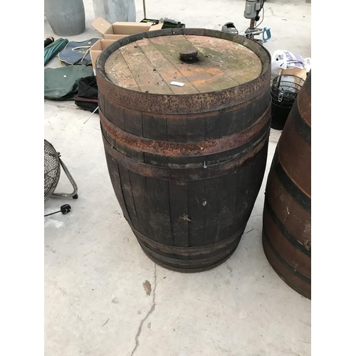 120 - A VINTAGE OAK BARREL...