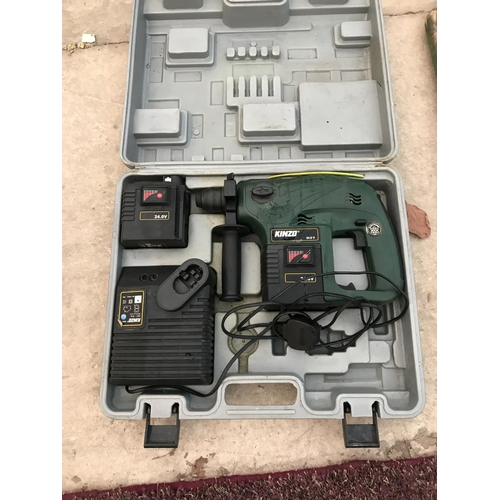 126 - A KINZO 24 VOLT RECHARGEABLE DRILL IN CASE...