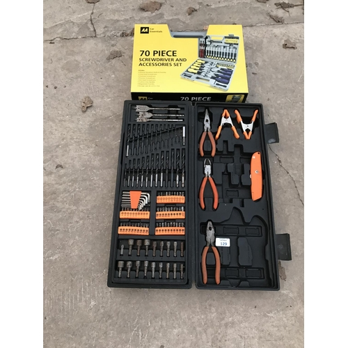129 - A 70 PIECE SCREWDRIVER SET AND A PLIERS NAD DRILL BIT SET...
