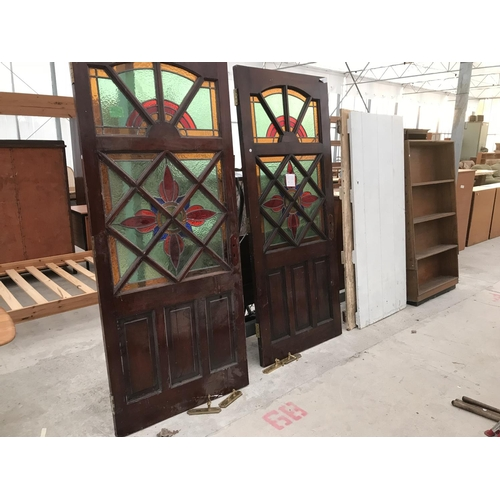 130A - TWO MAHOGANY EXTERIOR DOORS, TWO VINTAGE PAINTED PINE DOORS AND AN OAK SHELVING UNIT...
